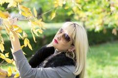 秋天,一个分支的妇女与黄色叶子 免版税库存图片