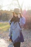 秋天,秋天年轻亚裔妇女8 图库摄影