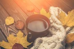 秋天,黄色和橙色秋天离开,热的茶,在木土气背景的温暖的围巾 免版税库存图片