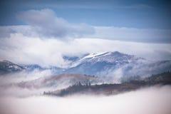 秋天, 11月有雾和多雪的早晨山全景 库存图片