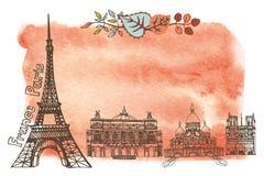 秋天巴黎 地标,叶子,水彩飞溅 免版税图库摄影