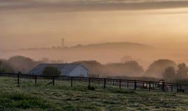 秋天黎明,与橙色光通过清早薄雾 免版税库存图片