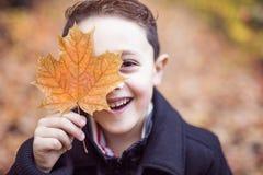 秋天10月季节的小男孩 免版税图库摄影