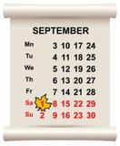 秋天9月1日初期  在日历的枫叶 库存例证