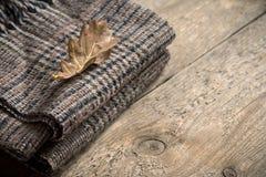 秋天 有干燥叶子的方格的格子花呢披肩 免版税库存照片