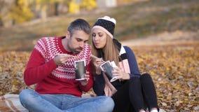 秋天 海滩 人和女孩坐毯子,吃中国菜,谈和微笑4K缓慢的Mo 影视素材