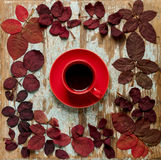 以秋天绯红色的形式心脏的平的位置框架留下o 免版税库存照片
