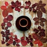 以秋天绯红色的形式心脏的平的位置框架留下o 库存图片