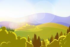 秋天黄色山树谷landcape 向量例证