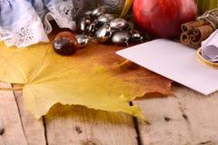 秋天 苹果、李子、葡萄和黄色叶子在木板材 免版税库存图片