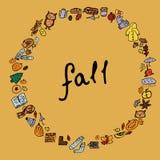 秋天 蘑菇,秋叶,橡子,莓果 框架-花圈 在黄色背景的被隔绝的传染媒介对象 图库摄影