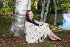 秋天画象在桦树树丛里,门罗县,威斯康辛,美国 免版税图库摄影