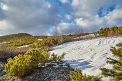 秋天 进入杰克・伦敦湖的小河的嘴  在雪的山 免版税库存照片