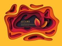 秋天3d纸裁减背景 与叶子的抽象形状在黄色,橙色,紫色颜色 装饰的设计 库存照片