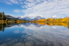 秋天Teton反射风景 免版税库存图片