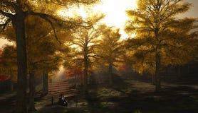 秋季公园小提琴 免版税库存图片