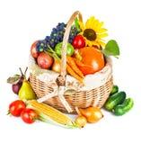 秋季收获蔬菜和水果在篮子 免版税库存照片