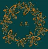 秋季来回框架 秋叶花圈  与手拉的秋叶的背景 免版税库存图片
