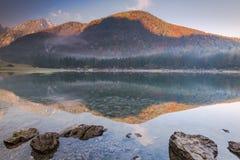 秋季森林反射在Fusine湖,意大利 免版税库存照片