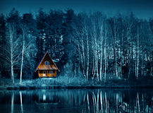 秋季的,万圣夜夜黑暗的森林 免版税库存图片