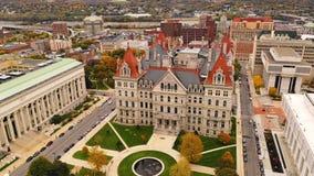 秋季纽约州议会议场国会大厦大厦在阿尔巴尼 股票录像