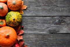 秋季背景用南瓜和下落的叶子在木头 库存图片