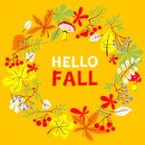 秋季花圈 与明亮的叶子的秋天边界,花揪和 免版税库存照片