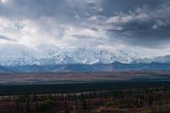 秋季Denali国家公园风景在多云天 库存图片