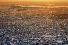 秋明州在冬天,顶视图 免版税库存图片