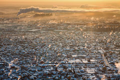 秋明州在冬天,顶视图 免版税库存照片