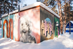 秋明州,俄罗斯, 1月31日 2016年:在修造的墙壁上的街道画 图库摄影