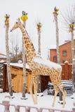 秋明州,俄罗斯- 11月06 2016年:与雕塑的风景  库存图片