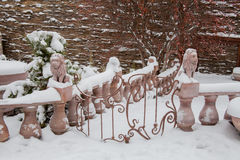 秋明州,俄罗斯- 11月06 2016年:与雕塑的风景 免版税图库摄影