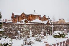 秋明州,俄罗斯- 11月06 2016年:与beautif的冬天风景 库存照片
