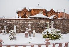 秋明州,俄罗斯- 11月06 2016年:与beautif的冬天风景 免版税库存图片