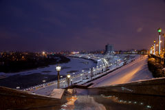 秋明州,俄罗斯- 11月05 2016年:冬天夜风景从 图库摄影