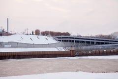 秋明州,俄罗斯- 11月05 2016年:冬天晚上风景 免版税图库摄影