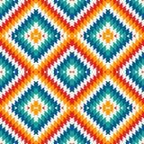 种族与V形臂章线的样式无缝的样式 美国本地人装饰品 部族主题 五颜六色的马赛克墙纸 皇族释放例证
