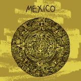 种族传染媒介例证 举世闻名的地标系列:墨西哥,玛雅人日历,玛雅人 欢迎光临墨西哥 免版税图库摄影