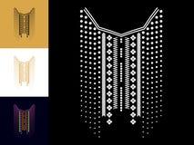 种族几何脖子线刺绣 衣裳的装饰 免版税库存照片