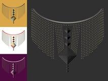 种族几何脖子线刺绣 衣裳的装饰 免版税图库摄影