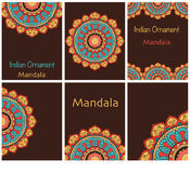 种族卡片和婚礼邀请的汇集与印地安装饰品 免版税库存图片
