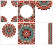 种族卡片和婚礼邀请的汇集与印地安装饰品 免版税库存照片