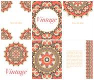 种族卡片和婚礼邀请的汇集与印地安装饰品 免版税图库摄影