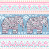 种族印地安漂泊样式大象无缝的样式 向量例证