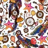 种族在boho样式的羽毛无缝的样式 免版税库存照片