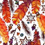 种族在boho样式的羽毛无缝的样式 库存照片