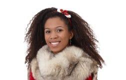 种族女孩冬天纵向有毛皮的 免版税库存照片