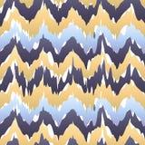 种族无缝的样式-传染媒介例证 米黄蓝色ikat样式 向量例证