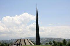 种族灭绝纪念碑在种族灭绝博物馆,亚美尼亚。 图库摄影